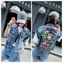Sequined Denim Vest Jacket Women Appliques Colorful Flowers Graffitti Monkey Print Geek Rock Jeans Vest Coat Maxi Size Tops 1027