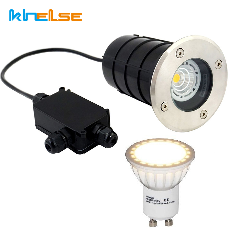 LED In-ground Path Light 5W 12V 85-265V GU10 LED Bulb Landscape Spotlights Waterproof IP67 Yard Garden Step Light & Gland IP Box