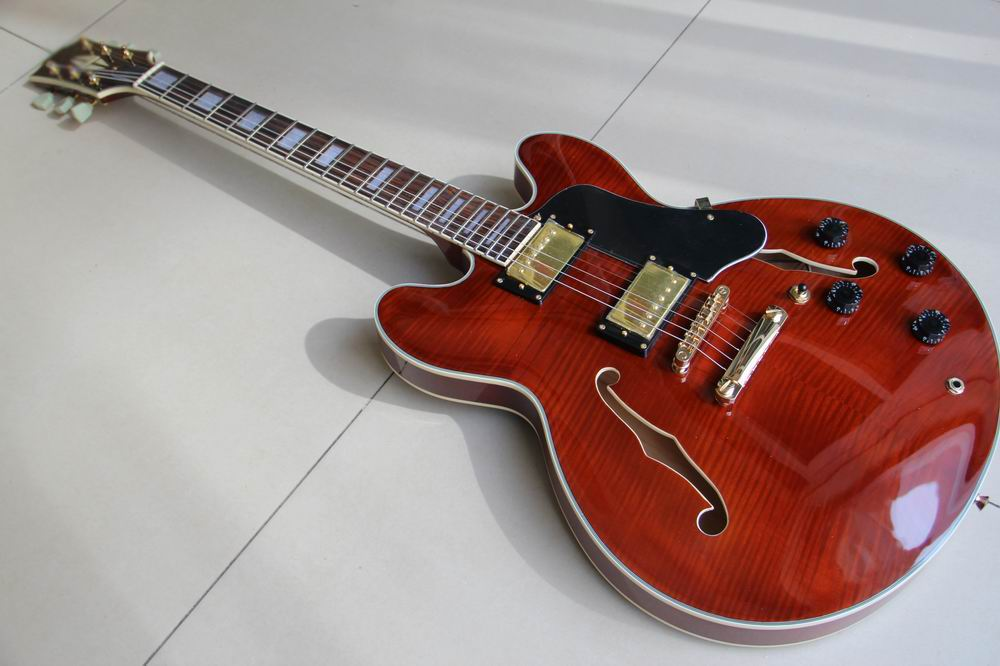 цены Wholesale Custom ES335 Jazz electric guitar semi hollow body ES 335 In Brown Burst ES-335 120310