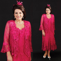 2019 Vintage Mother Of The Bride Dresses Fuchsia Lace Mothers Wedding Guest Dress Vestidos Plus Size Mother of Groom Gown
