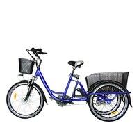 Elektrische Driewieler 26 inch 36V10A 250 w Elektrische Fiets voor een zetel Aluminium Frame 3 wielen Elektrische Fiets/ ebike Hot selling