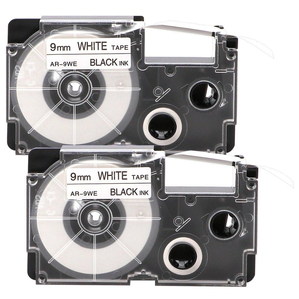 2PK Compatible Casio XR-9WE Black On White 9mm 8m Label Tape KL430 KL820 XR-9WE1