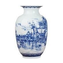 클래식 중국어 파란색과 흰색 세라믹 꽃병 골동품 탁상 도자기 꽃병 호텔 식당 장식