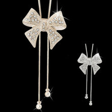 New Chic Luxury Long Rhinestone Statement Shiny Bow Pendant Silver Plated Butterfly Chain Necklace Jewelry