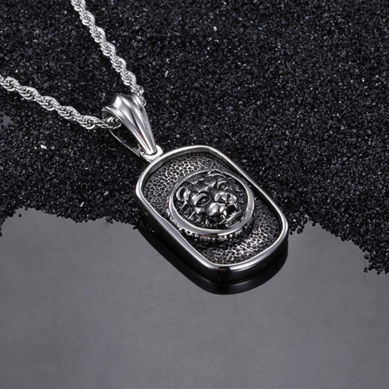 Titanium Tag Pendant Tiger Necklace Stainless Steel Jewelry Punk Style Cloth Accessories Vintage Charm