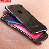 Luphie Metal Bumper For Iphone 8 Case Luxury Ultra Thin Aluminum Frame Shockproof Phone Cases For