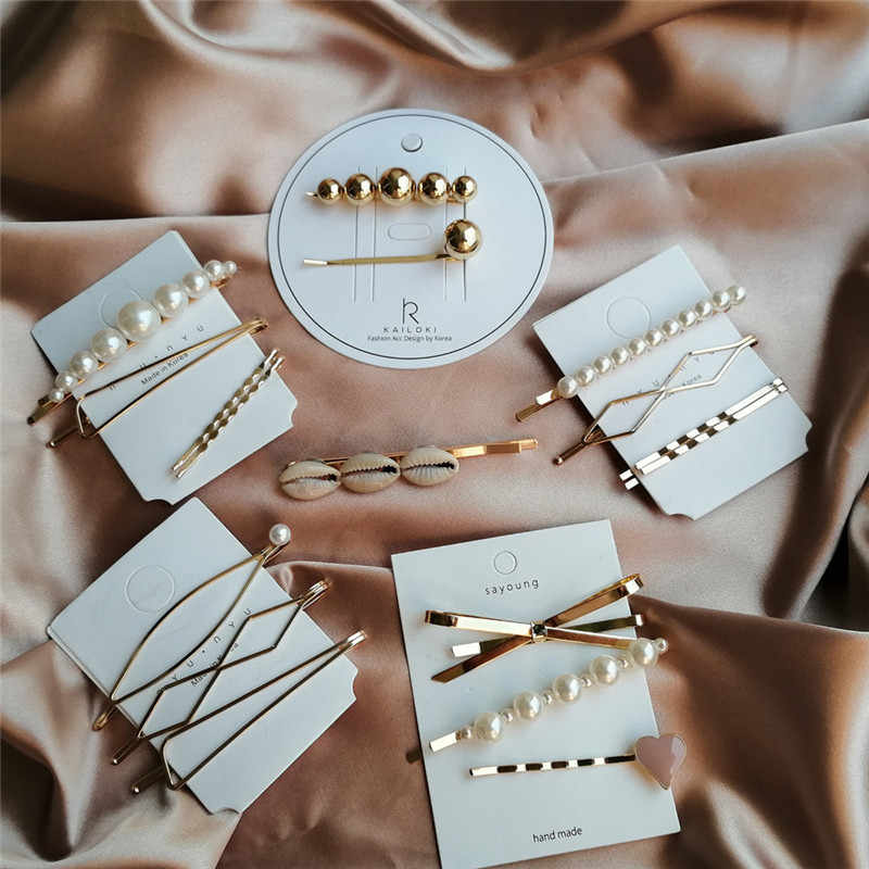 17KM 25 New Simulated-pearl Hair Clips 2019 For Women DIY Fashion Gold Shell Hairpins Set Female Hairwear Korea Jewelry Dropship