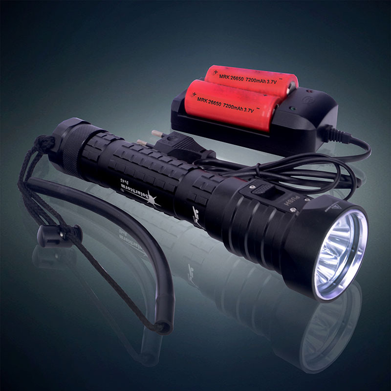 2015 New 4 x Cree XM-L2 6000LM Diving Flashlight LED Underwater Torch Waterproof Flash Light + 2x 26650 Battery + Charger 5x xml l2 12000lm led waterproof diving flashlight magswitch diving torch lantern led flash light 2x18650 battery charger
