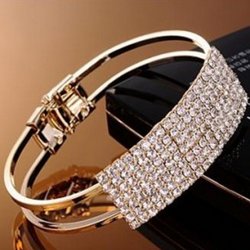 Mossovy Geomentry Cubic Zirconia Ring Bangles Bracelets Charms Silver Alloy Bracelet Jewelry for Women Accessories Sieraden