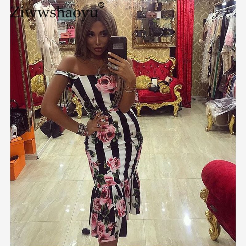 Ziwwshaoyu Newest Summer Fashion 2018 Runway Dress Women's Striped Gorgeous Rose Printed Spaghetti Strap Mermaid Dress