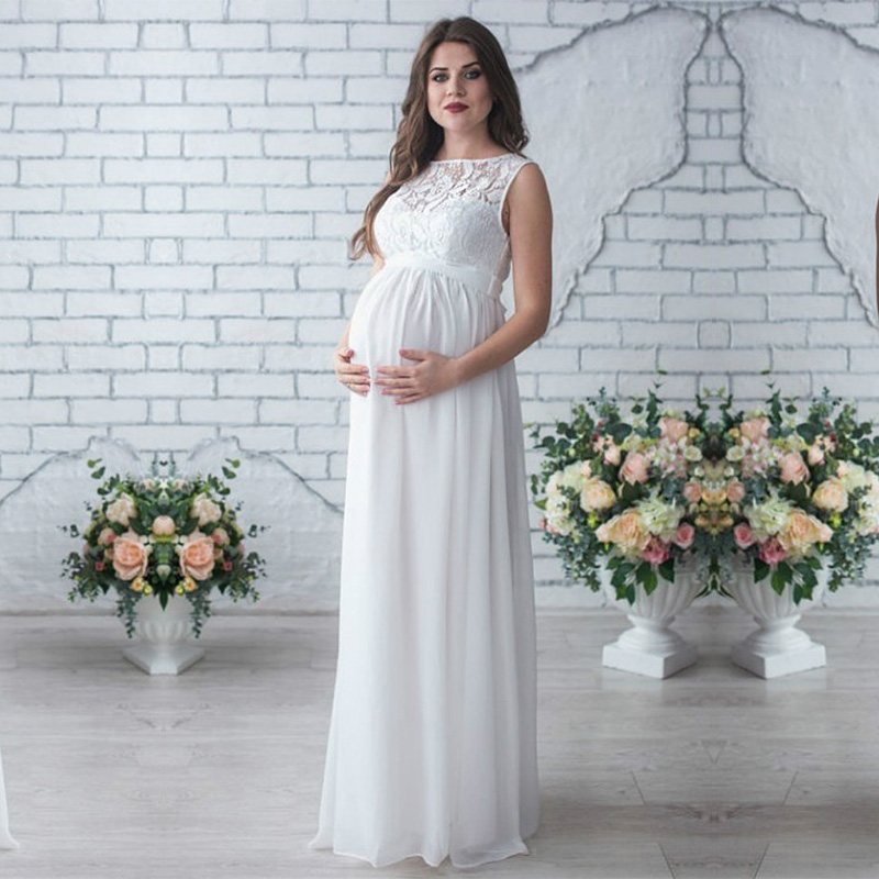 Лидер продаж, платье для беременных, Одежда для беременных женщин, элегантные платья без рукавов, кружевное Вечерние вечернее платье для ве...