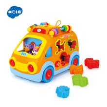 HOLA 988 Baby Toys Innovative Vehicle Happy Bus Toy with Music & Light & Blocks Kids Early Learning Educational Toy Gifts(China)