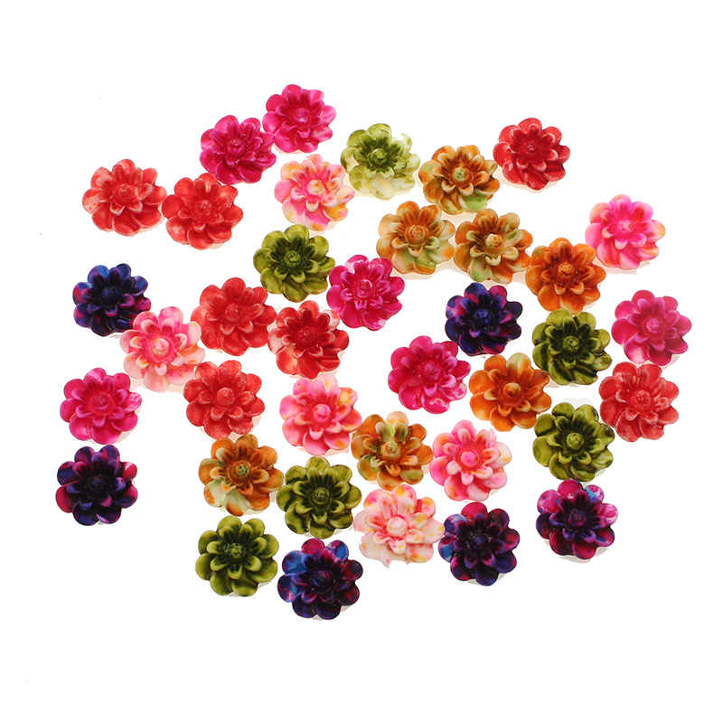 100//Pcs Mixed Resin Cabochon Rose Flower Crafts Flat back Beads Embellishments F