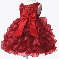 New Infant Baby Girls Pearl Flower Party Tutu Dress Big Bow First Birthday Children Dresses Vestidos Kids Clothes Bebes Clothing