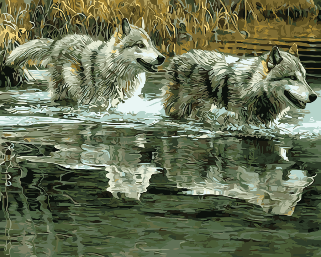 Oil Painting Water Wolf Wall Decor For Living Room