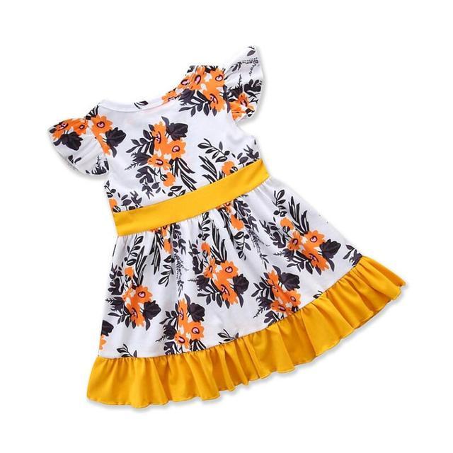 ילדים שמלות בנות צהוב עף שרוול עניבת ציצית פרחוני הדפסת נסיכת שמלת קיץ שמלת ילדה בנות בגדים לפרוע שמלה