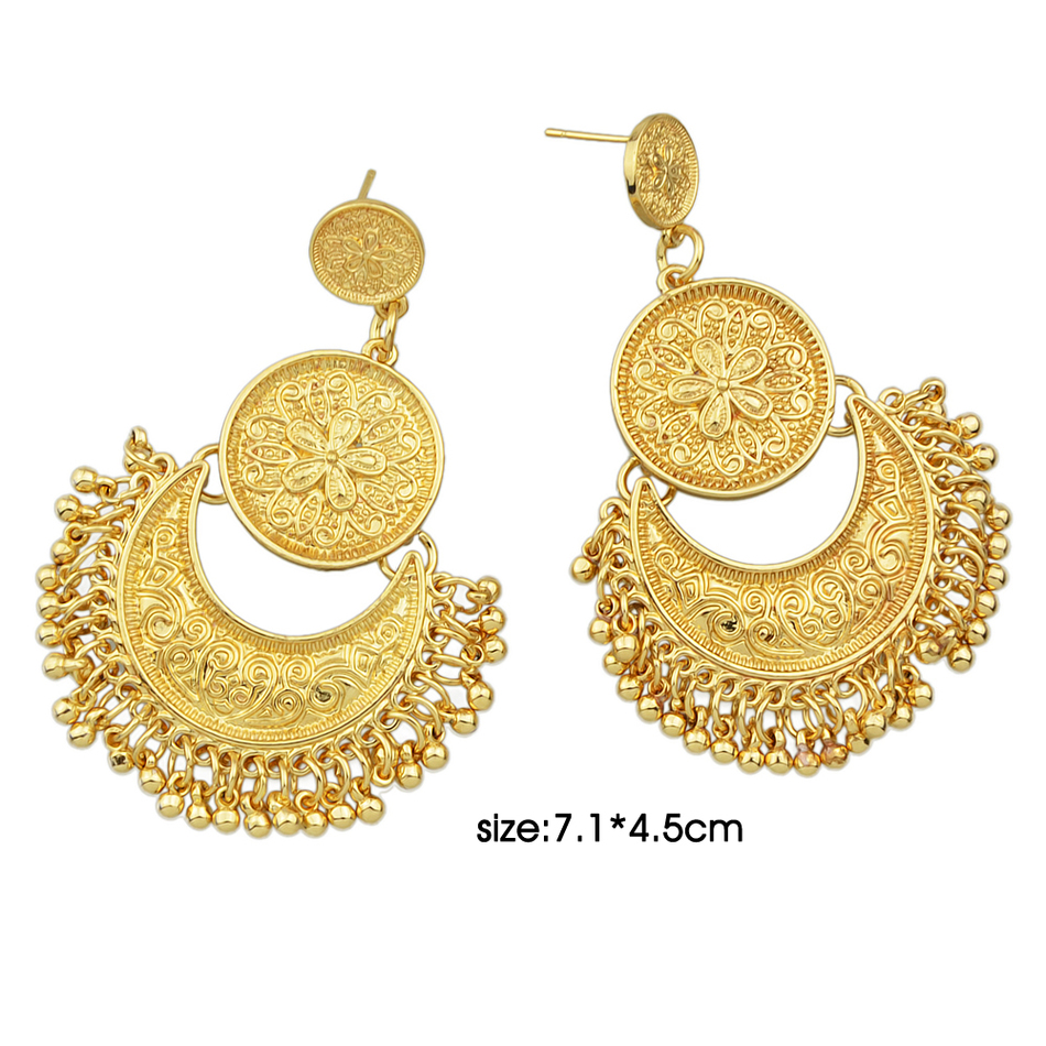 ... Antique Gold-Color Silver Color Ethnic Earrings ... - Jewelry Chandelier Earrings Antique Gold-Color Silver Color Big