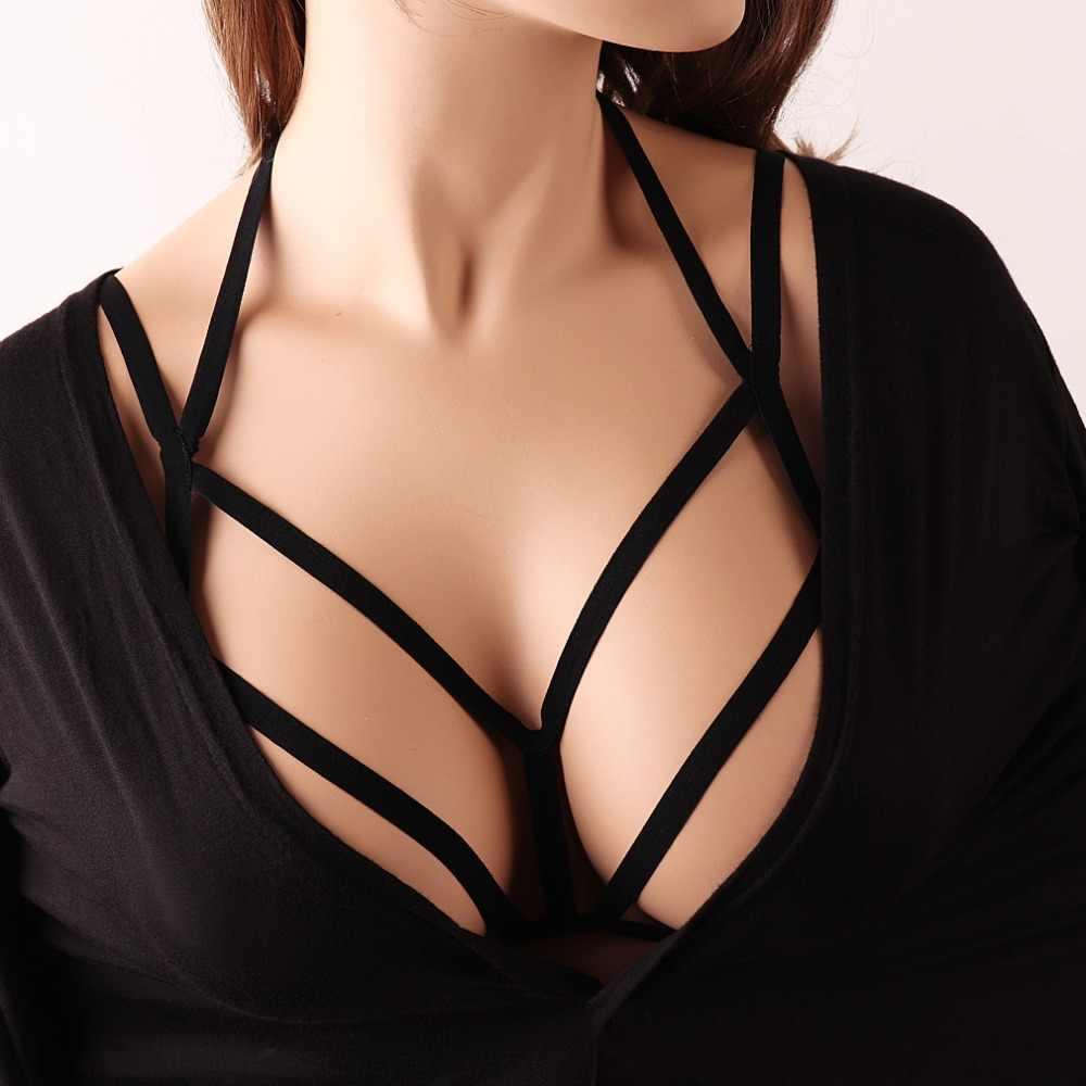 Siyah Vücut Demeti Kemer Kadınlar Seksi Gotik Kafes Sütyen Harajuku Vücut Kafes Demeti Fetiş Kölelik Demeti Iç Çamaşırı DS027