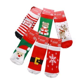 1-10T Cotton Cute Christmas Design Boy Girl Socks Slip-resistant Cartoon New Born Baby Children's Christmas Socks 6 Style