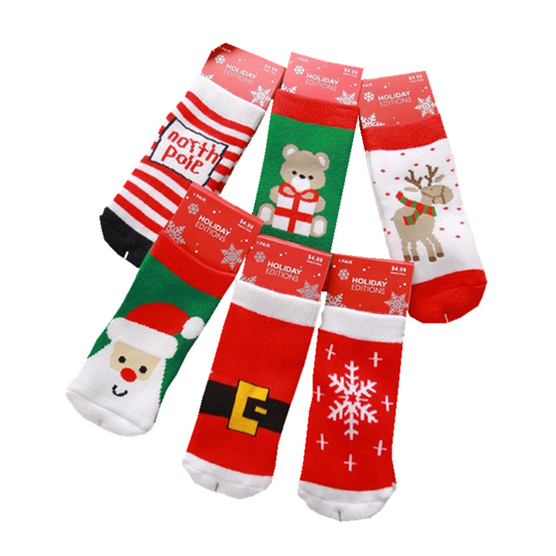1-10t Cotton Cute Christmas Design Boy Girl Socks Slip-resistant Cartoon New Born Baby Children's Christmas Socks 6 Style