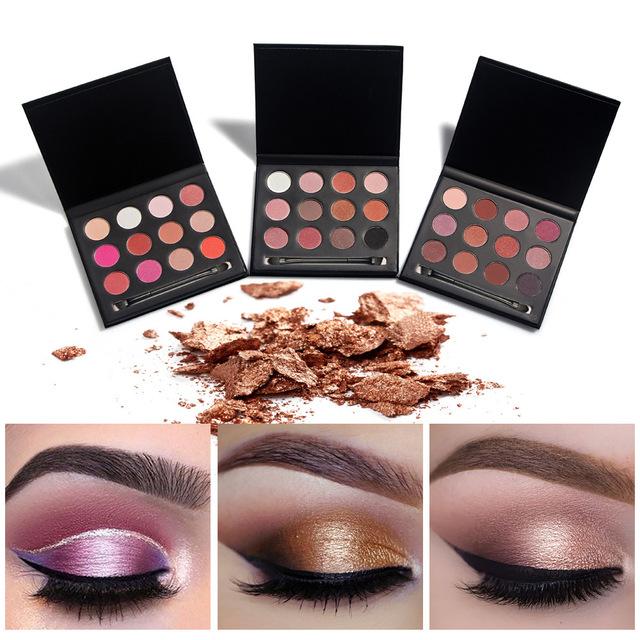 Huamianli cosméticos smoky shimmer matte eyeshadow sombra make up paleta 12 cores profissional maquiagem kit jogo de escova