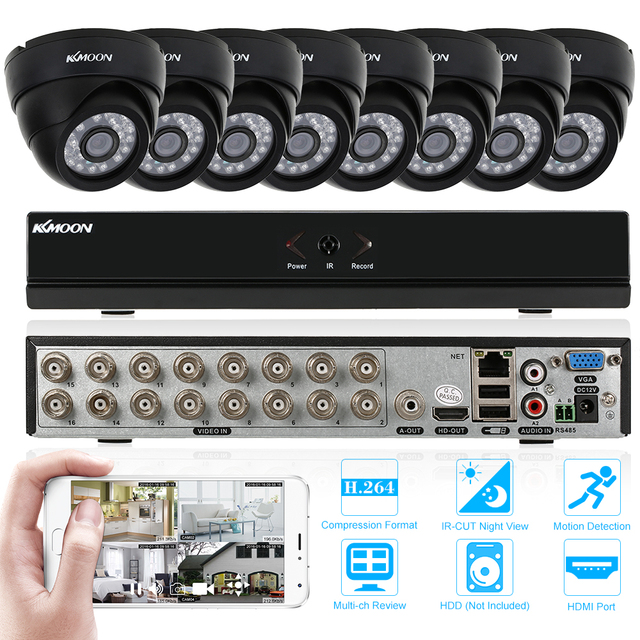 KKmoon 16CH CCTV System 960H/D1 H.264 DVR with 8PCS 800TVL IR-CUT Night View CCTV Camera for Home Security System Video Kits