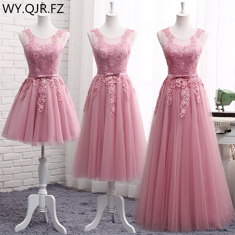 MNZ-510DS#Lace Up Short Medium Long New Cameo Brown Bridesmaid Dresses Autumn Winter 2019 Lace Up Wedding Prom Dress Toasting
