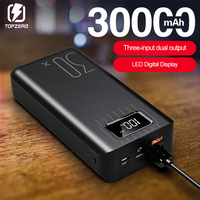30000mAh Power Bank LED Digital Display Dual USB Fast Charging Power Bank For Samsung iPhone External Battery With LED Light