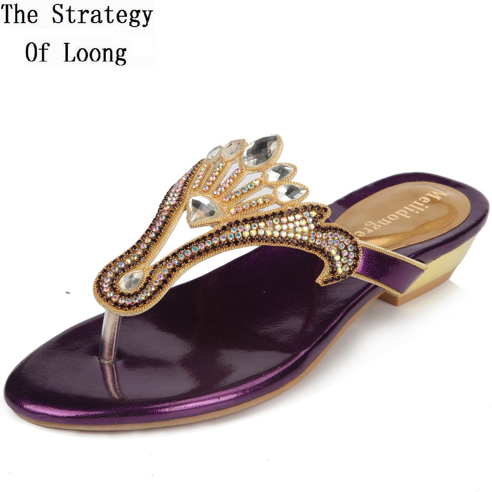 Women New Arrival Crystal Low Heels Sliders Big Size Genuine Leather Lady Flat Real Leather Sandals