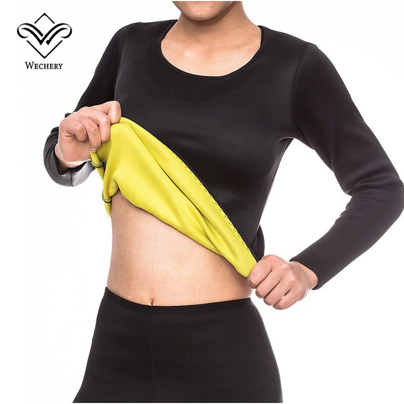 Wechery Hot Shpapers Long sleeve Tops Slimming Sweat Shirt Women Abdomen Thermo Tummy Waist Sweat Sauna Weight Loss faja hombres