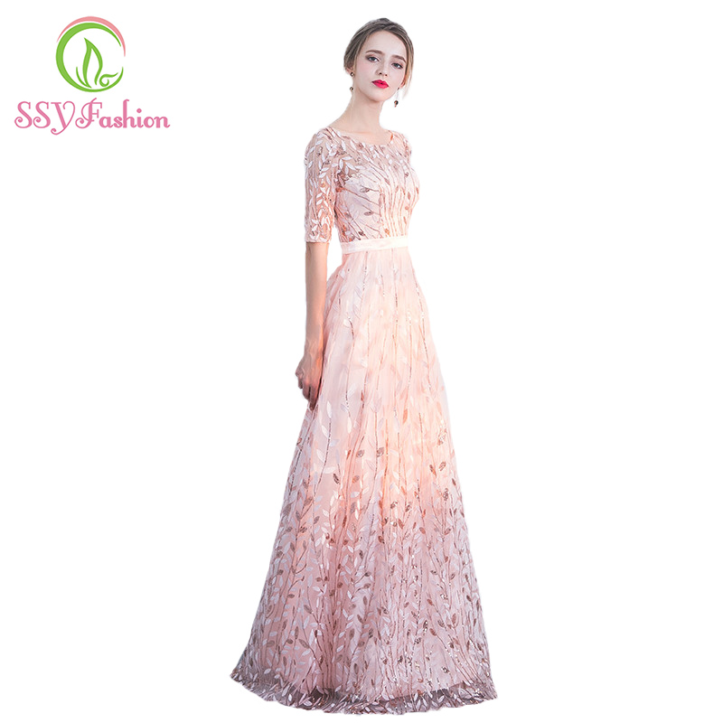SSYFashion New 2017 Pink   Evening     Dress   The Bride Banquet Sweet Half Sleeves Embroidery Sequins Party Prom   Dress   Robe De Soiree