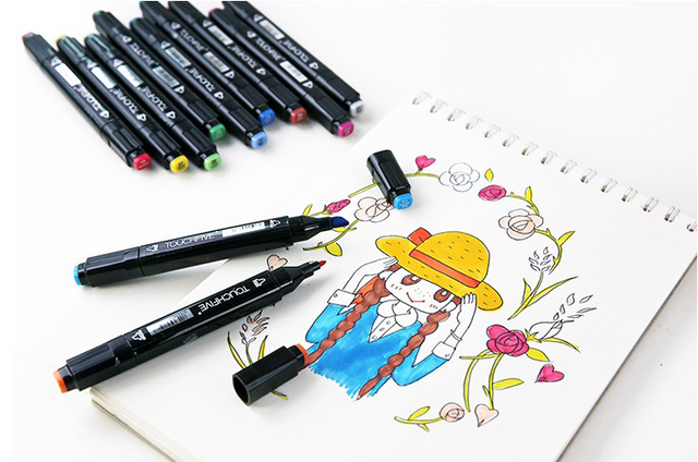 TOUCHFIVE 30/40/60/80 Colors Art Markers Alcohol Based Markers Drawing Pen Set Manga Dual Headed Art Sketch Marker Design Pens 5