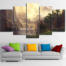 Canvas Wall Art Gambar Bingkai Home Decor Room Poster 5 Pieces Gunung Danau Pemandangan Alam Hewan Rusa HD Dicetak Lukisan(China)
