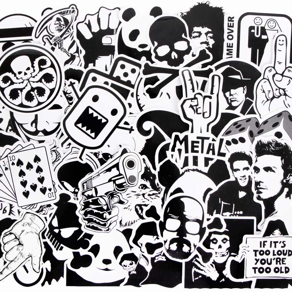 Detail feedback questions about 50 pcs mixed single sticker black white waterproof home decor doodle laptop motorcycle bike travel case decal toy