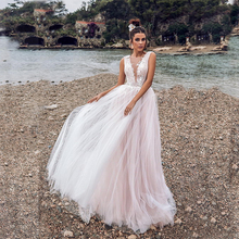 Verngo Pink Tulle Wedding Dress V-neckline Wedding Gowns Appliqued Backless Bride Dress Vestido De Novia