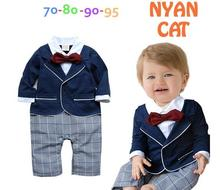 2016 New Arrive Baby Boy Romper Spring Infant Gentlemen Jumpsuit Long Sleeve Bow Tie Plaid School Style Romper New Born Clothes