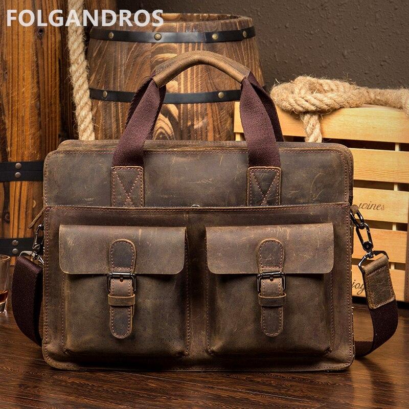Designer Vintage Crazy Horse Briefcases Men Cowhide 14