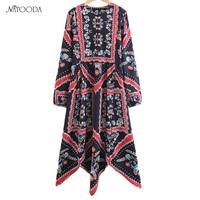 NATOODA Fashion Print Asymmetric Women Dress Women Boycon Vintage Chinese Folk Style Casual Long Sleeve Spring