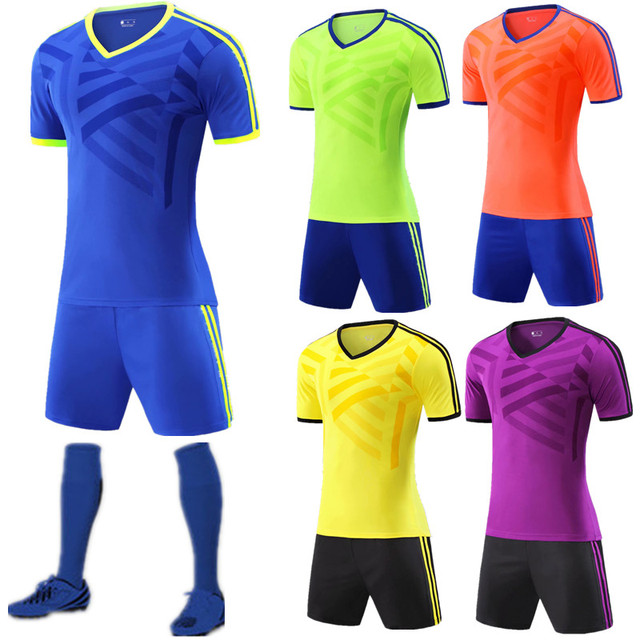 45378e5ef 18 19 Kids + Soccer Jersey Sets Adult Soccer Training Uniforms Football Kit  For Men Jersey Stand Up Shorts QD013