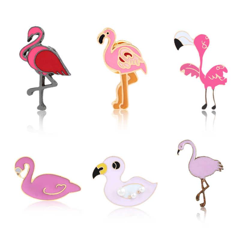 6 stili Del Fumetto Dell'annata Spille Per I Monili Delle Donne Swan Anatra Flamingo Dello Smalto pin Animale Distintivo Giubbotti jeans Degli Uomini del Risvolto pin Regali