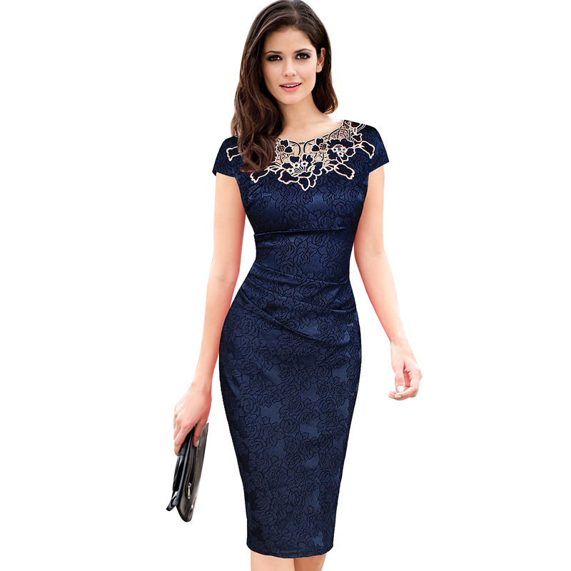 Sexy Hollow Out Lace Summer Dress Women Fashion Party Office Elegant Sheath Pencil Lady Print Dress Zipper Vestidos with Lining