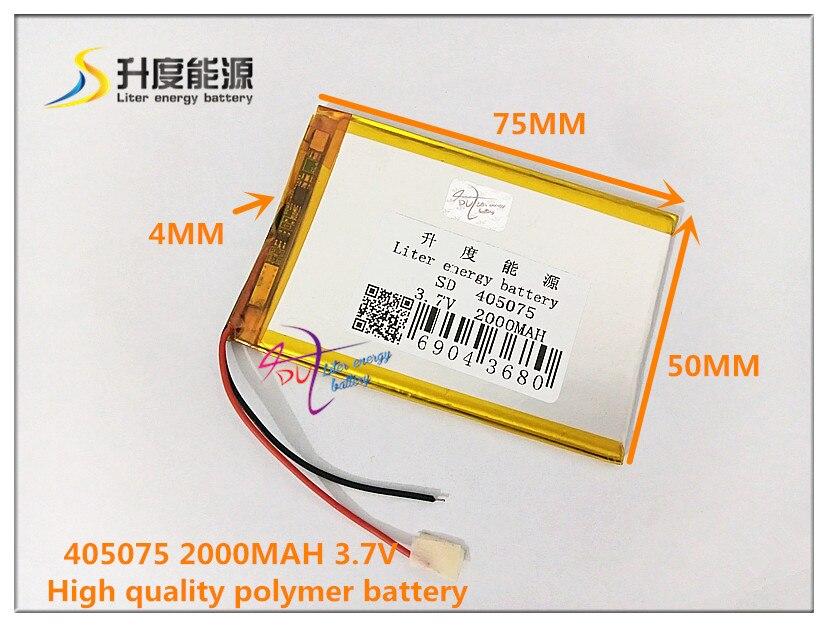 Liter Energie Batterie 3,7 V 2000 Mah 405075 Polymer Lithium-ion/li-ion Batterie Für Power Bank Gps E-book Lautsprecher Handy Spezieller Kauf Tablet-zubehör