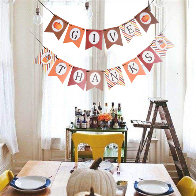 1 set give thanks banners decorative hanging ornament thanksgiving day home decor string flags banner diy