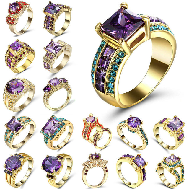 Elegant Purple Gold Filled colour CZ Ring Unique Design Vintage Party Wedding Ri