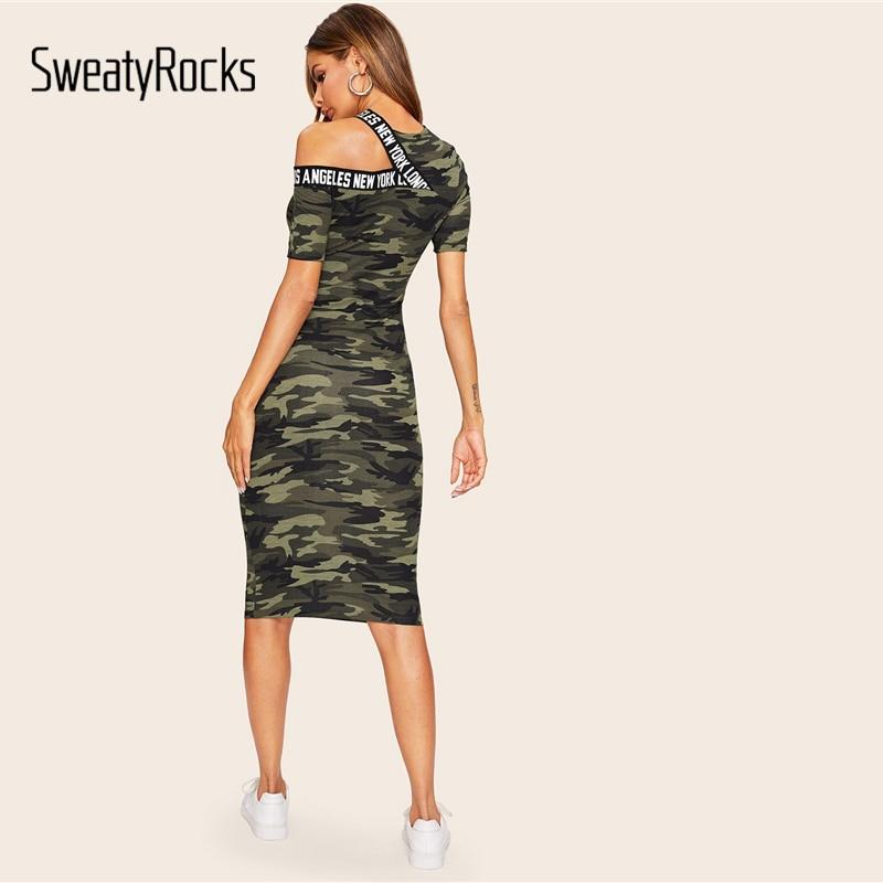 SweatyRocks Asymmetrical Shoulder Letter Tape Camo Dress Streetwear Women Casual Skinny Clothes 2019 Bodycon Pencil Midi Dress