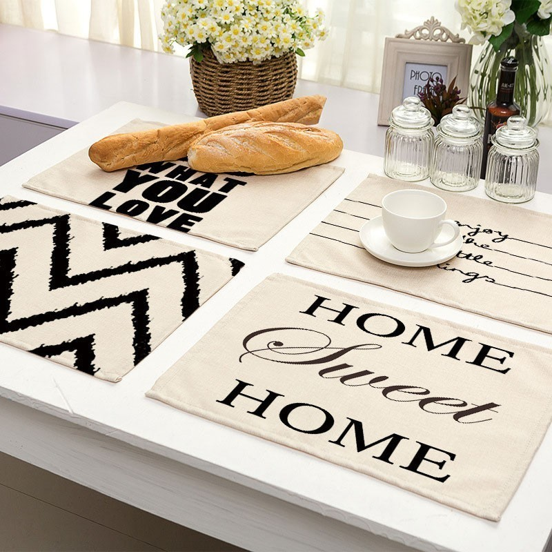 Mats Placemat Kitchen-Accessories Drink-Coasters Dining-Table Geometric Linen-Pads Cotton