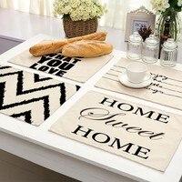 1Pcs Geometrische Brief Muster Tischset Esstisch Matten Untersetzer Baumwolle Leinen Pads 42*32cm Küche Zubehör MG0026-in Matten & Pads aus Heim und Garten bei