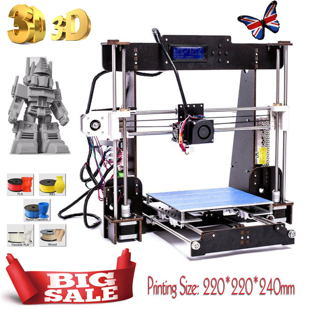 A8-W5 3D Printer Prusa i3 Reprap - MK8 Extruder - MK3 Heatbed - LCD Controller DE US Stock