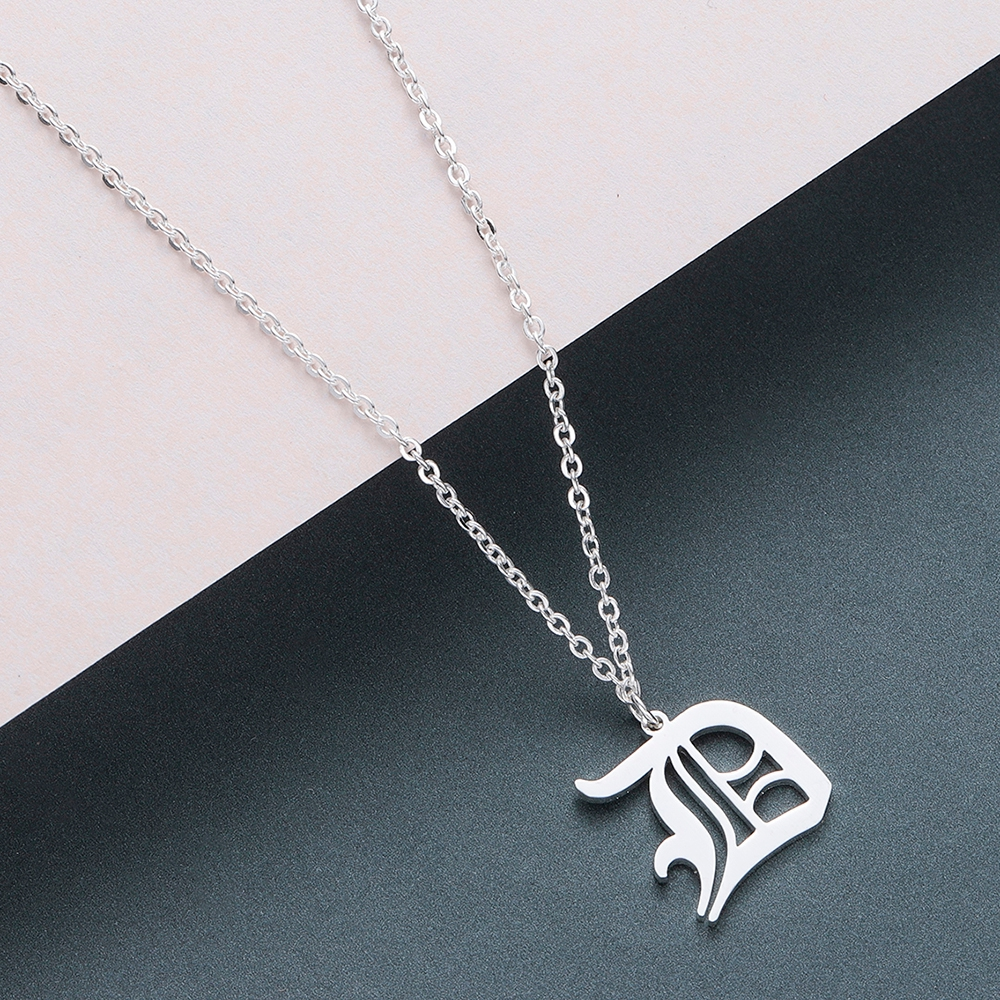 Todorova Old English Custom Capital Initial A-Z Letter Pendant Necklace Men Vintage Font Personalized Necklace Women Jewelry 11