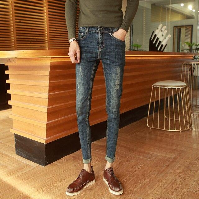 2019 spring new nightclub jeans tide male hair stylist Korean version of Slim handsome tight elastic feet pants